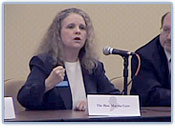 Photo of Judge Martha Geer speaking during The Federalist Society for Law and Public Policy Studies judicial forum in Raleigh, North Carolina.